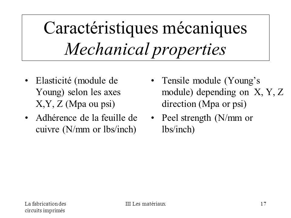 La fabrication des circuits imprimés III Les matériaux17 Caractéristiques mécaniques Mechanical properties Elasticité (module de Young) selon les axes