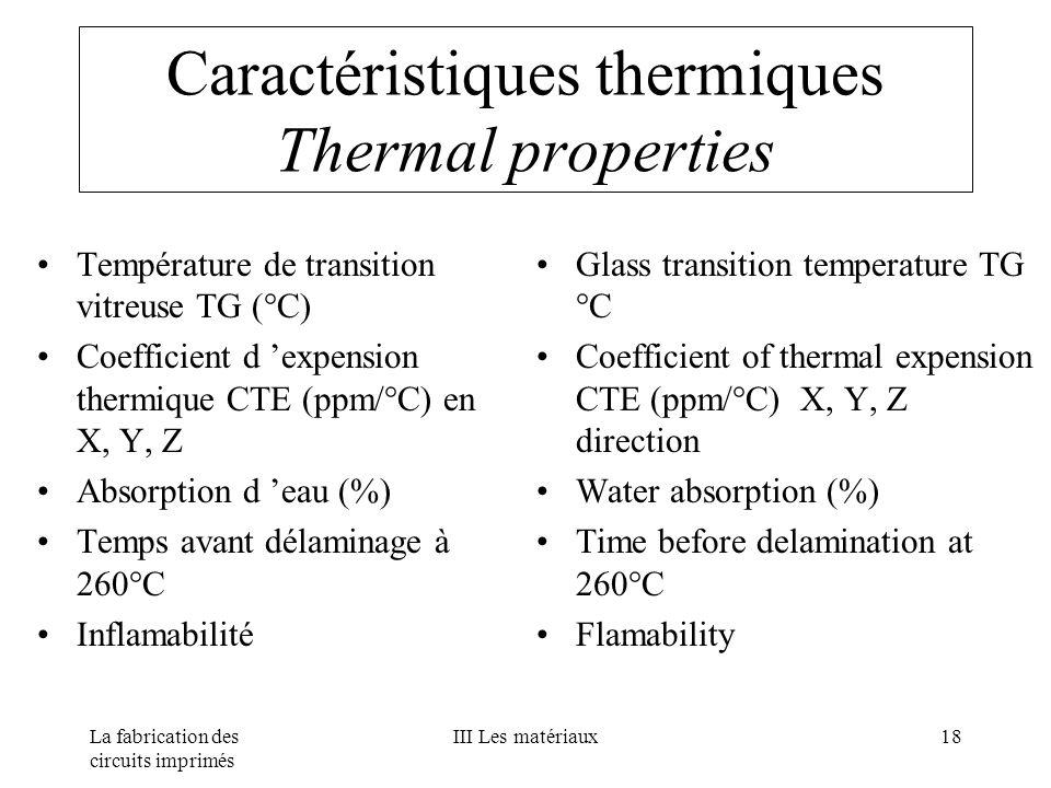 La fabrication des circuits imprimés III Les matériaux18 Caractéristiques thermiques Thermal properties Température de transition vitreuse TG (°C) Coe