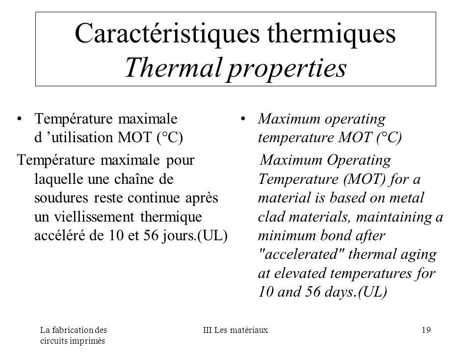 La fabrication des circuits imprimés III Les matériaux19 Caractéristiques thermiques Thermal properties Température maximale d utilisation MOT (°C) Te