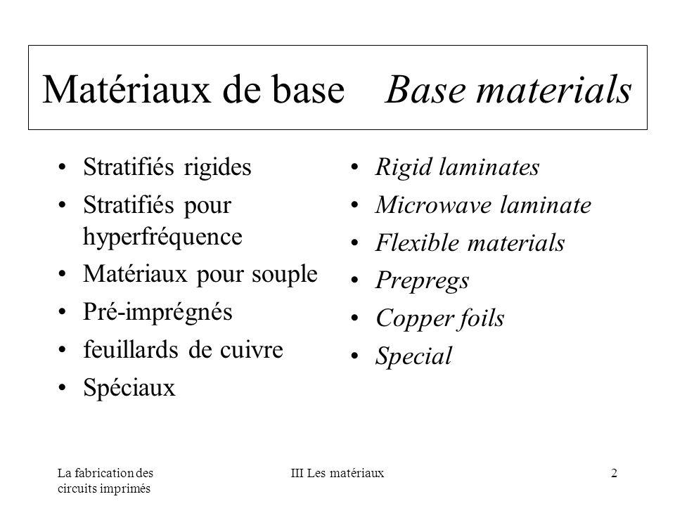 La fabrication des circuits imprimés III Les matériaux2 Matériaux de base Base materials Stratifiés rigides Stratifiés pour hyperfréquence Matériaux p