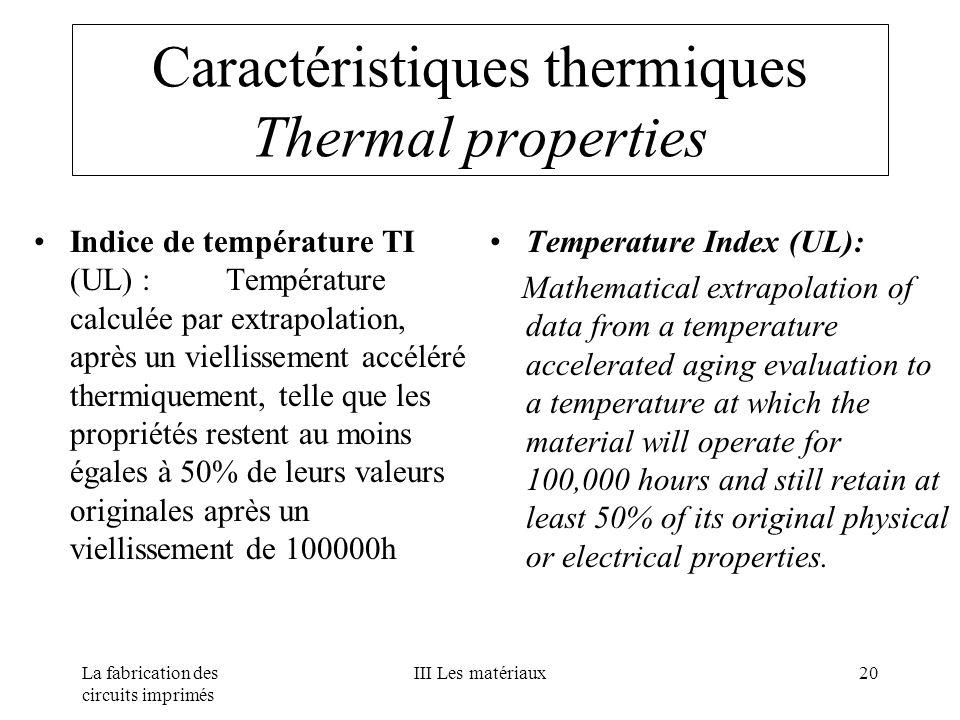La fabrication des circuits imprimés III Les matériaux20 Caractéristiques thermiques Thermal properties Indice de température TI (UL) :Température cal