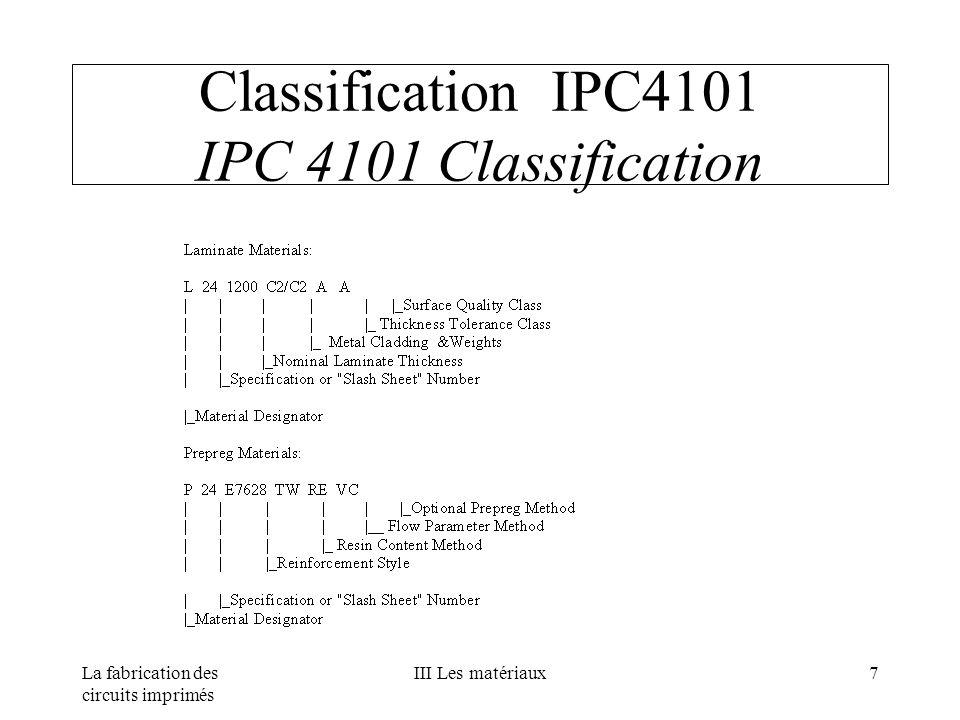 La fabrication des circuits imprimés III Les matériaux7 Classification IPC4101 IPC 4101 Classification