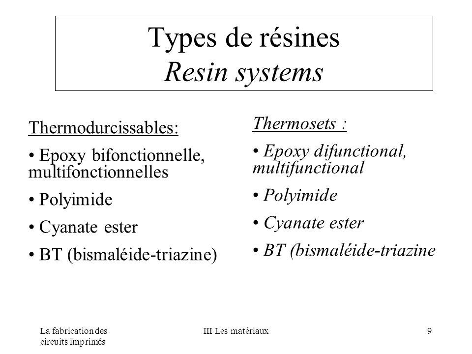 La fabrication des circuits imprimés III Les matériaux9 Types de résines Resin systems Thermodurcissables: Epoxy bifonctionnelle, multifonctionnelles