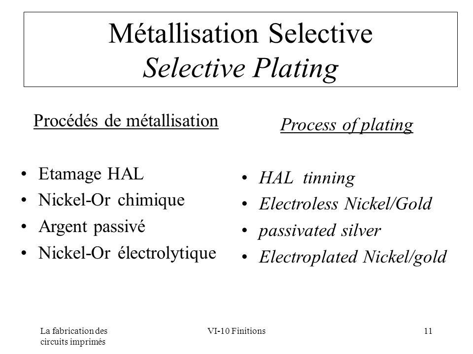 La fabrication des circuits imprimés VI-10 Finitions11 Métallisation Selective Selective Plating Procédés de métallisation Etamage HAL Nickel-Or chimi