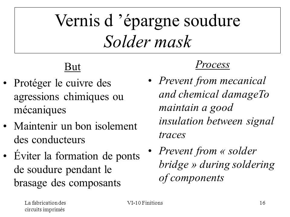 La fabrication des circuits imprimés VI-10 Finitions16 Vernis d épargne soudure Solder mask But Protéger le cuivre des agressions chimiques ou mécaniq