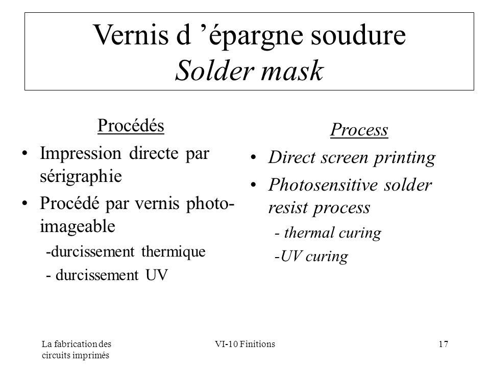 La fabrication des circuits imprimés VI-10 Finitions17 Vernis d épargne soudure Solder mask Procédés Impression directe par sérigraphie Procédé par ve