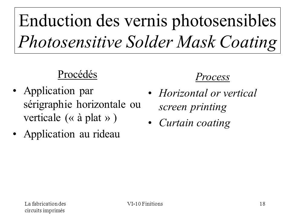 La fabrication des circuits imprimés VI-10 Finitions18 Enduction des vernis photosensibles Photosensitive Solder Mask Coating Procédés Application par