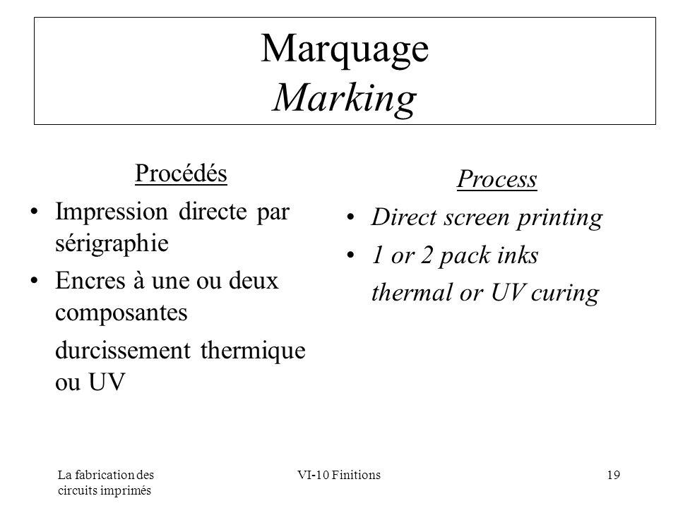 La fabrication des circuits imprimés VI-10 Finitions19 Marquage Marking Procédés Impression directe par sérigraphie Encres à une ou deux composantes d