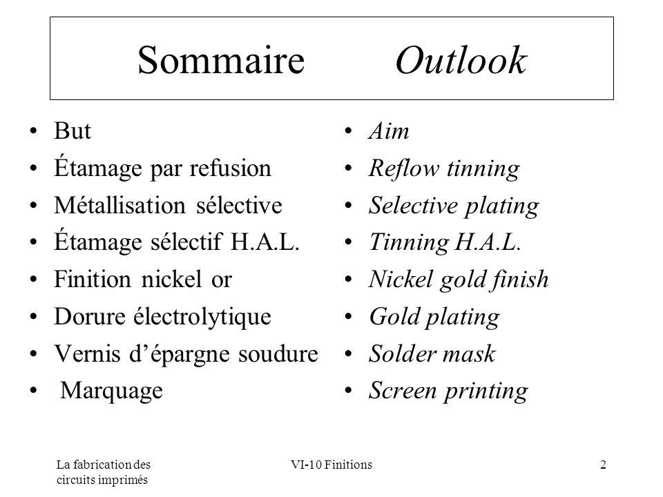 La fabrication des circuits imprimés VI-10 Finitions2 Sommaire Outlook But Étamage par refusion Métallisation sélective Étamage sélectif H.A.L. Finiti