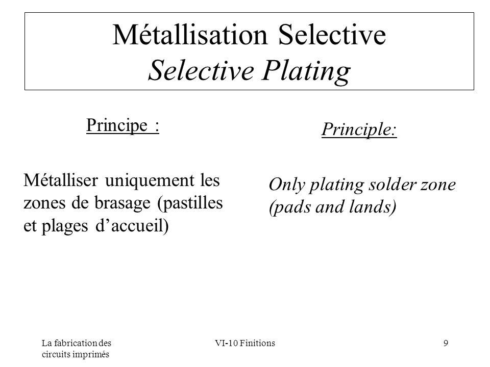 La fabrication des circuits imprimés VI-10 Finitions9 Métallisation Selective Selective Plating Principe : Métalliser uniquement les zones de brasage