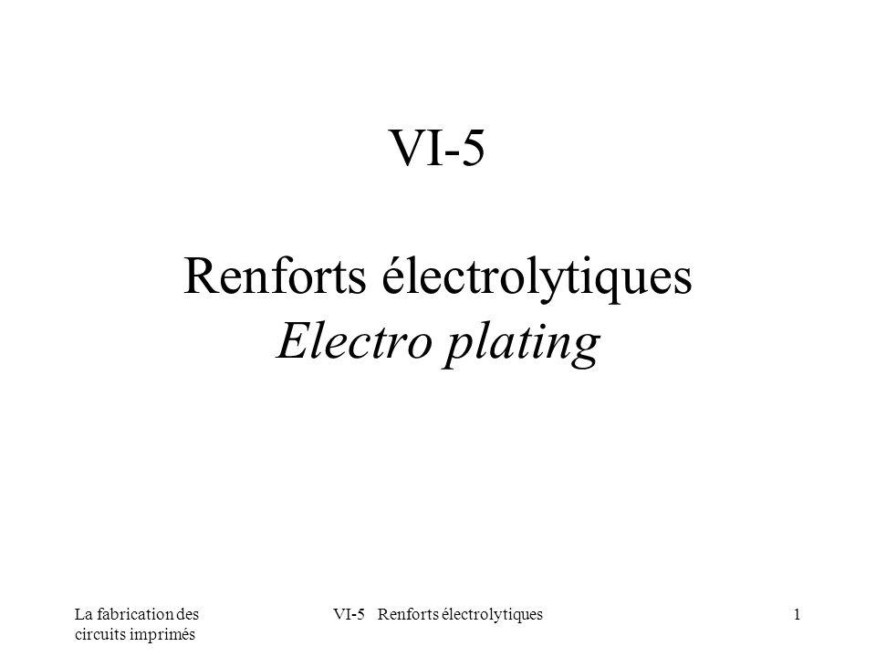 La fabrication des circuits imprimés VI-5 Renforts électrolytiques1 VI-5 Renforts électrolytiques Electro plating