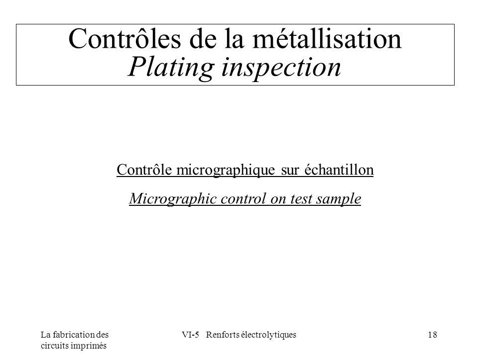 La fabrication des circuits imprimés VI-5 Renforts électrolytiques18 Contrôles de la métallisation Plating inspection Contrôle micrographique sur écha