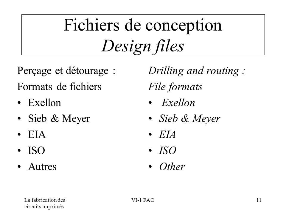 La fabrication des circuits imprimés VI-1 FAO11 Fichiers de conception Design files Perçage et détourage : Formats de fichiers Exellon Sieb & Meyer EI