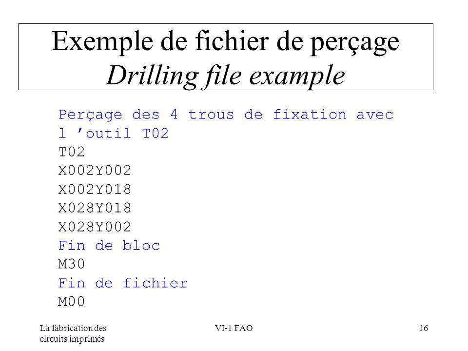 La fabrication des circuits imprimés VI-1 FAO16 Exemple de fichier de perçage Drilling file example Perçage des 4 trous de fixation avec l outil T02 T