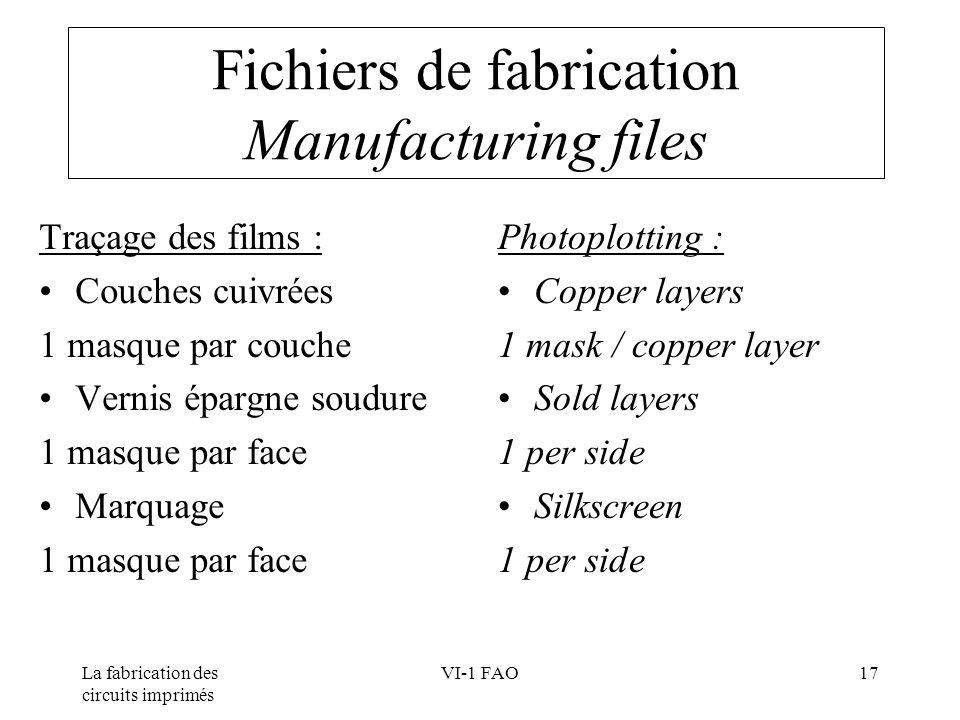 La fabrication des circuits imprimés VI-1 FAO17 Fichiers de fabrication Manufacturing files Traçage des films : Couches cuivrées 1 masque par couche V