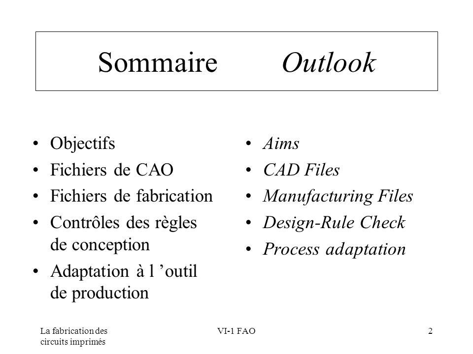 La fabrication des circuits imprimés VI-1 FAO3 Objectifs Aims Fichiers CAO (unitaire) Fichiers FAO (panneau) Outillages de fabrication CAD files (single board) FAO files (panel) Manufacturing tools