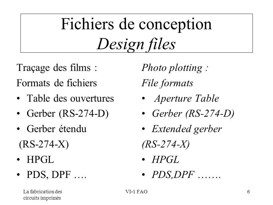 La fabrication des circuits imprimés VI-1 FAO6 Fichiers de conception Design files Traçage des films : Formats de fichiers Table des ouvertures Gerber