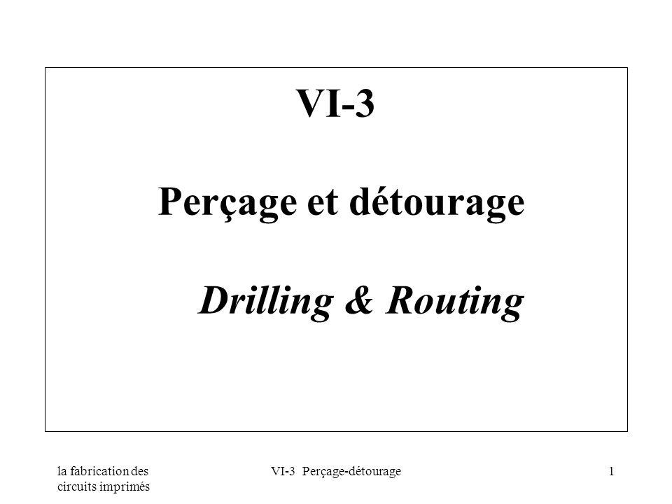 la fabrication des circuits imprimés VI-3 Perçage-détourage1 VI-3 Perçage et détourage Drilling & Routing