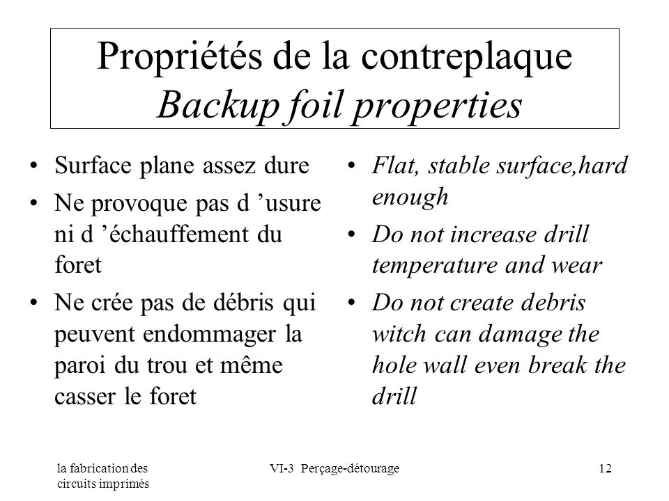 la fabrication des circuits imprimés VI-3 Perçage-détourage12 Propriétés de la contreplaque Backup foil properties Surface plane assez dure Ne provoqu