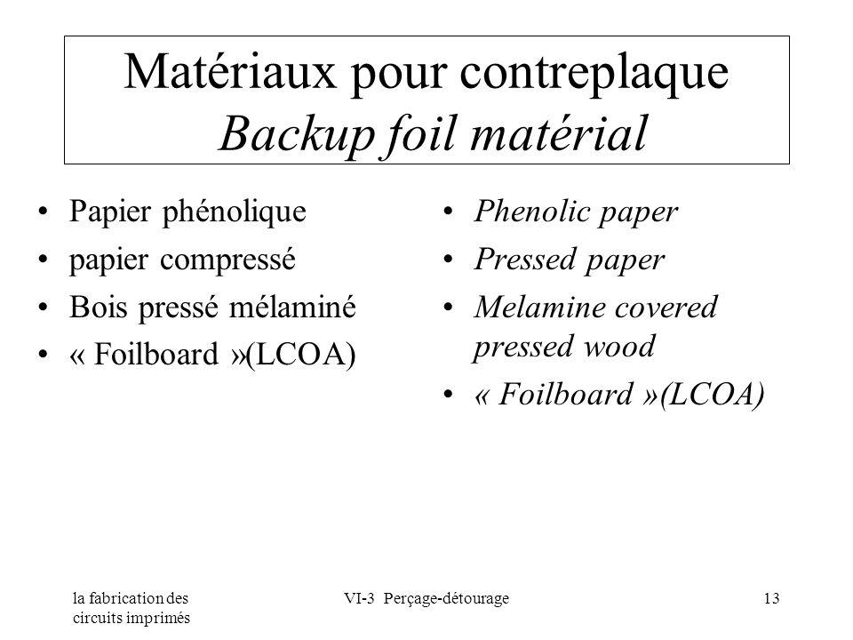 la fabrication des circuits imprimés VI-3 Perçage-détourage13 Matériaux pour contreplaque Backup foil matérial Papier phénolique papier compressé Bois
