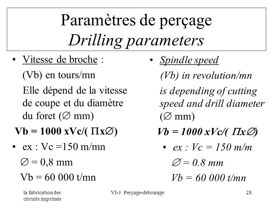 la fabrication des circuits imprimés VI-3 Perçage-détourage28 Paramètres de perçage Drilling parameters Vitesse de broche : (Vb) en tours/mn Elle dépe