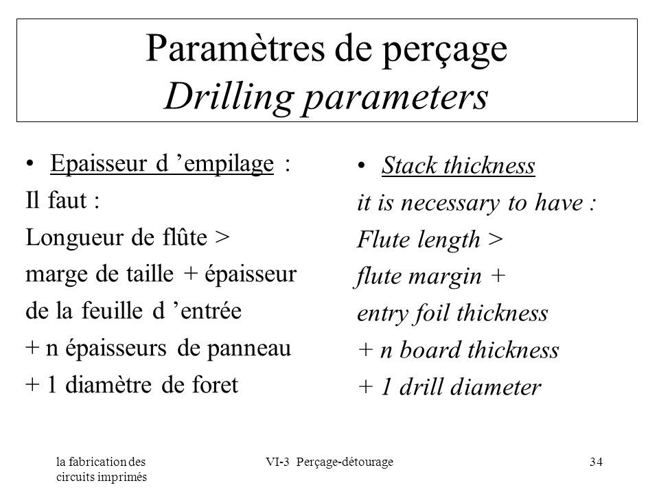 la fabrication des circuits imprimés VI-3 Perçage-détourage34 Paramètres de perçage Drilling parameters Epaisseur d empilage : Il faut : Longueur de f