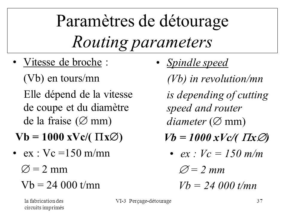 la fabrication des circuits imprimés VI-3 Perçage-détourage37 Paramètres de détourage Routing parameters Vitesse de broche : (Vb) en tours/mn Elle dép