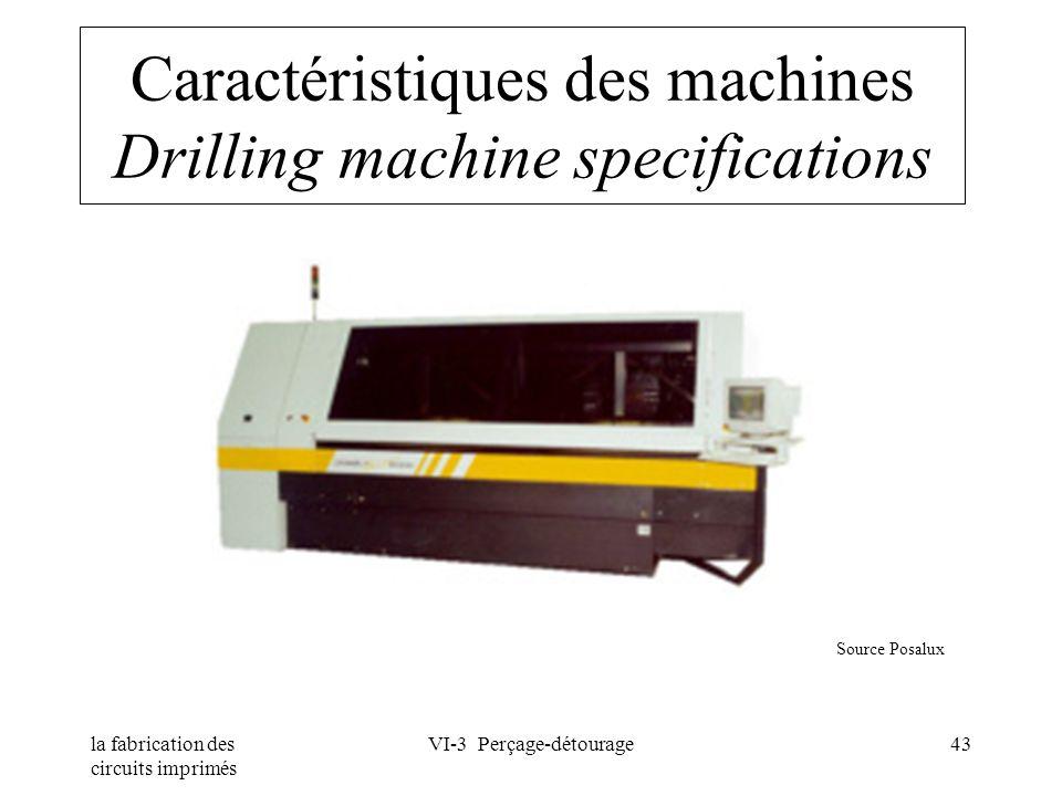 la fabrication des circuits imprimés VI-3 Perçage-détourage43 Caractéristiques des machines Drilling machine specifications Source Posalux