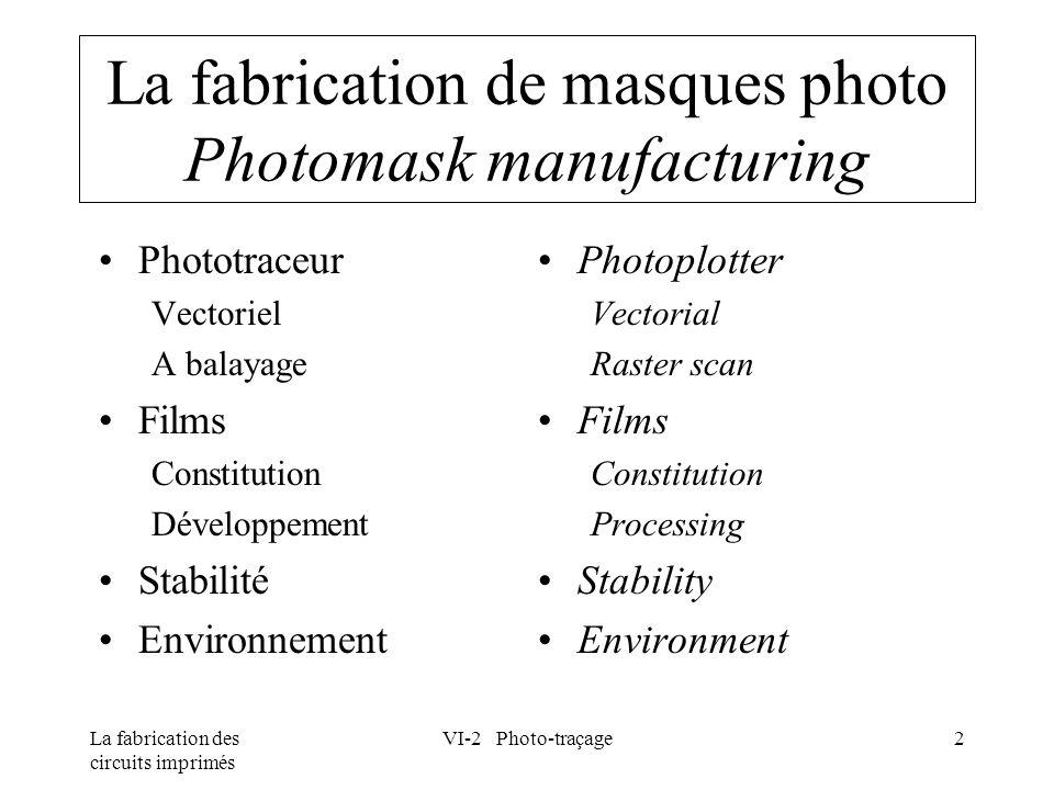 La fabrication des circuits imprimés VI-2 Photo-traçage13 Stabilité dimensionnelle Dimensional stability AcclimatationAcclimatization Délai (approximatif) nécessaire à l adaptation des dimensions d un film à un changement soudain de l humidité relative Epaisseur du film (mm) Adaptation dimensionnelle 0,100 0,180 40% 60%80%100% 5 mn15 mn60 mn300 mn 20 mn60 mn180 mn750 mn