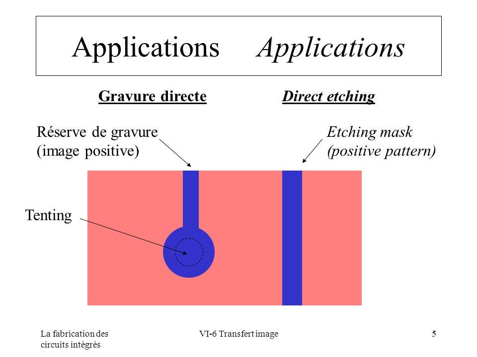 La fabrication des circuits intégrés VI-6 Transfert image26 Laminage Lamination Paramètres Température des rouleaux:~ 100 °C Température de sortie : ~ 60°C Pression :~ 3 bars Vitesse :~ 1,5 m/mn Parameters Roll Temperature : ~ 100 °C Exit Temperature : ~ 60°C Pressure :~ 3 bars Speed :~ 1,5 m/mn