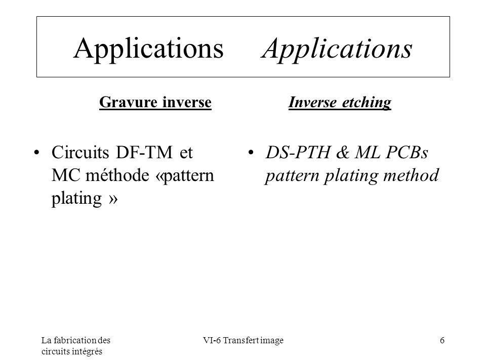 La fabrication des circuits intégrés VI-6 Transfert image37 Développement Development Paramètres Concentration en Na 2 CO 3 :~ 1% température :~ 30 °C temps de développement : ~ 2 mn Point de lavage~ 60 % Concentration en anti-mousse : ~ 0,15 ml/l Pressions des buses~ 1,5 bars Charges en résine ~ 0,3 mil-m²/l Parameters Developper concentration (Na 2 CO 3) :~ 1% temperature :~ 30 °C Time to clean : ~ 2 mn Breakpoint~ 60 % Defoamer concentration ~ 0.15 ml/l Pressions des buses~ 1.5 bars Developper loading ~0.3 mil-m²/l