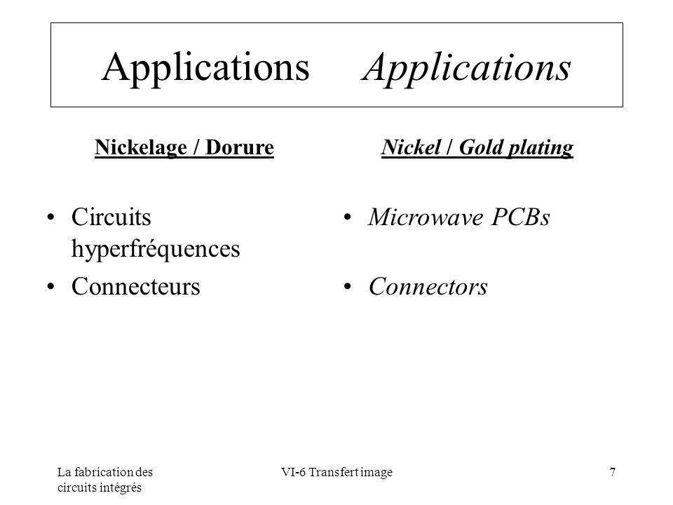 La fabrication des circuits intégrés VI-6 Transfert image38 Développement Development Propriétés Qualité des talus Résolution (largeur des pistes - espacements Vitesse de developpement Properties Sidewall quality Line/space resolution Developpement rate