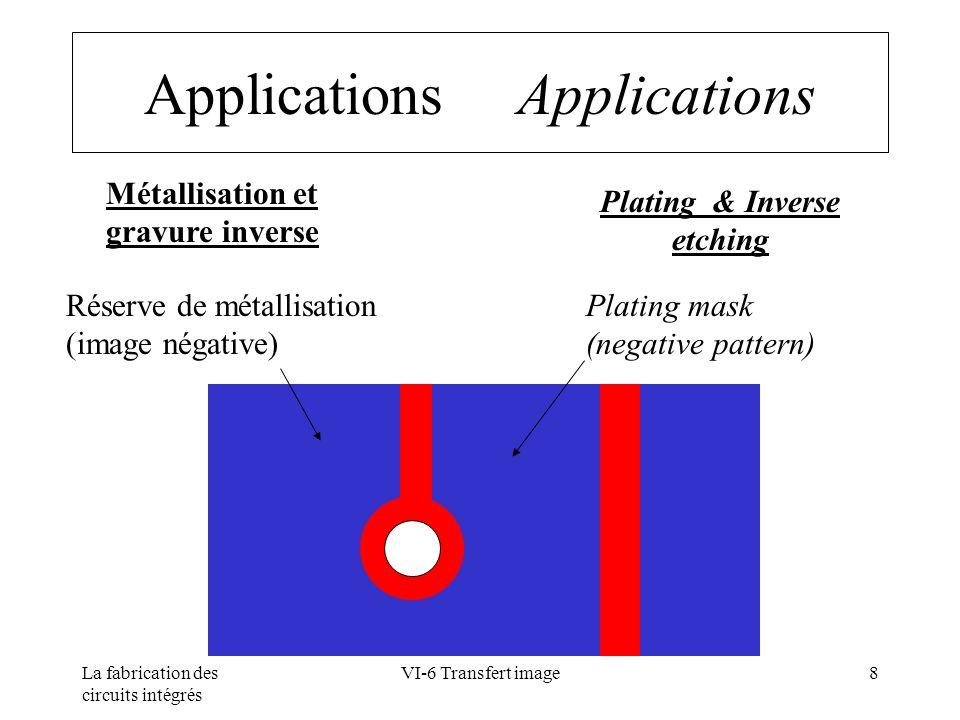 La fabrication des circuits intégrés VI-6 Transfert image9 Principe des résines négatives Negative photoresist principle résine monomère + inducteur de polymérisation + liant Polymère h (UV) Facilement soluble Easy to dissolve Difficilement soluble Hard to dissolve