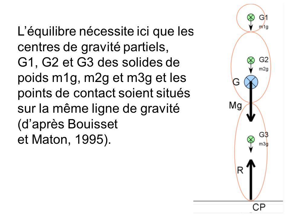 Léquilibre nécessite ici que les centres de gravité partiels, G1, G2 et G3 des solides de poids m1g, m2g et m3g et les points de contact soient situés