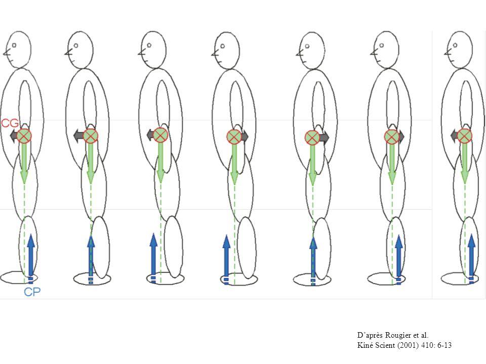 Daprès Rougier et Caron J Mot Behav (2000) 32: 405-413 Relation spatio-temporelle entre CP et CG