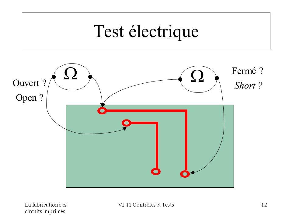 La fabrication des circuits imprimés VI-11 Contrôles et Tests12 Test électrique Fermé ? Short ? Ouvert ? Open ?