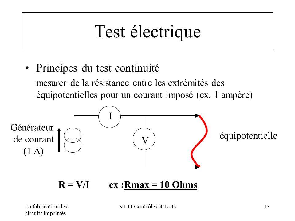 La fabrication des circuits imprimés VI-11 Contrôles et Tests13 Test électrique Principes du test continuité mesurer de la résistance entre les extrém