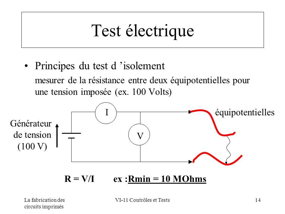 La fabrication des circuits imprimés VI-11 Contrôles et Tests14 Test électrique Principes du test d isolement mesurer de la résistance entre deux équi