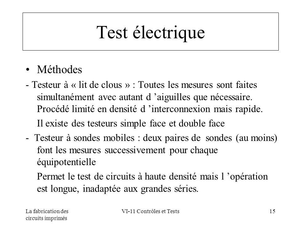 La fabrication des circuits imprimés VI-11 Contrôles et Tests15 Test électrique Méthodes - Testeur à « lit de clous » : Toutes les mesures sont faites