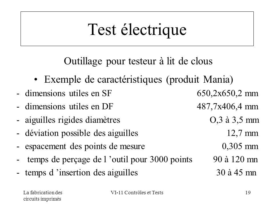 La fabrication des circuits imprimés VI-11 Contrôles et Tests19 Test électrique Outillage pour testeur à lit de clous Exemple de caractéristiques (pro