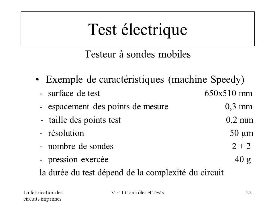La fabrication des circuits imprimés VI-11 Contrôles et Tests22 Test électrique Testeur à sondes mobiles Exemple de caractéristiques (machine Speedy)