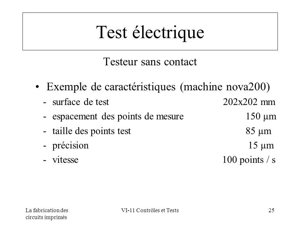 La fabrication des circuits imprimés VI-11 Contrôles et Tests25 Test électrique Testeur sans contact Exemple de caractéristiques (machine nova200) su
