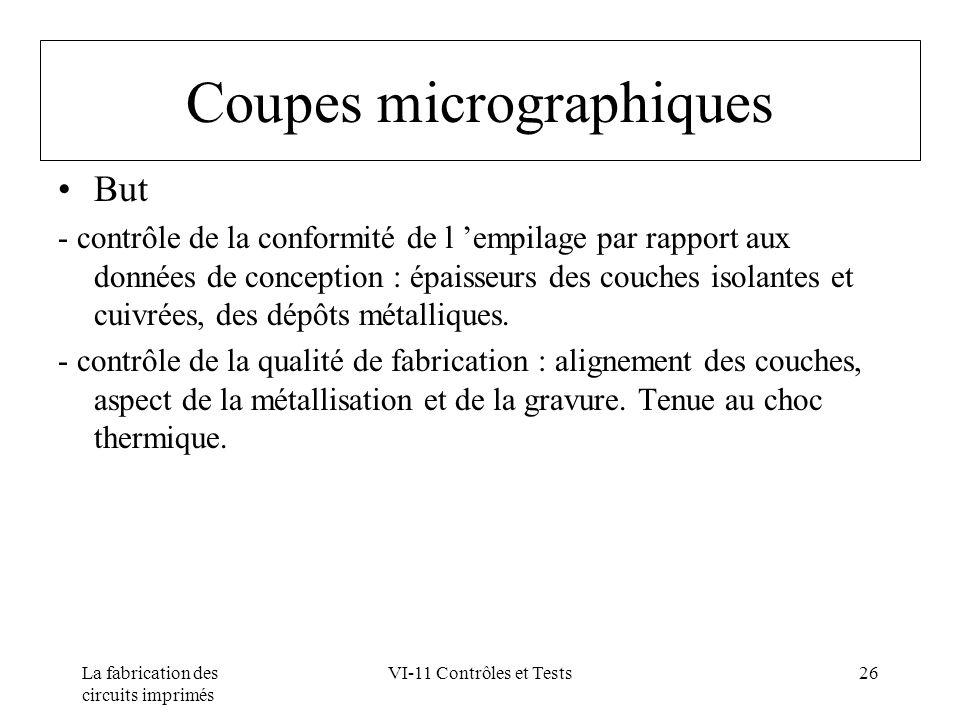 La fabrication des circuits imprimés VI-11 Contrôles et Tests26 Coupes micrographiques But - contrôle de la conformité de l empilage par rapport aux d