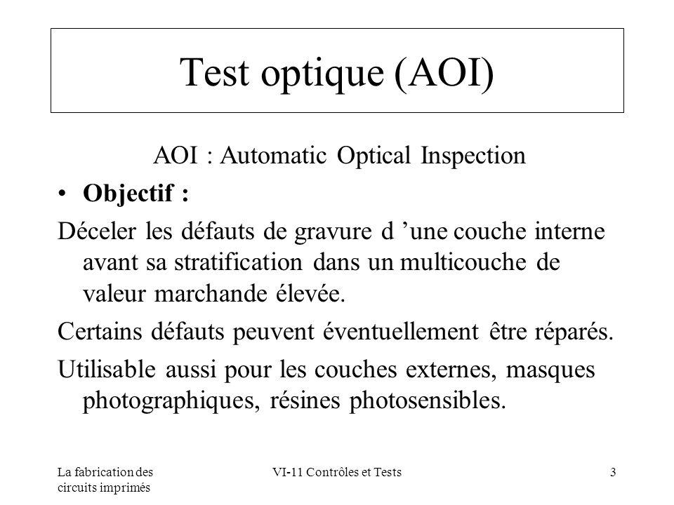 La fabrication des circuits imprimés VI-11 Contrôles et Tests4 Test optique (AOI) Principe : Comparer le graphisme de la couche interne avec celui d un circuit réputé correct ou à partir des données informatiques.