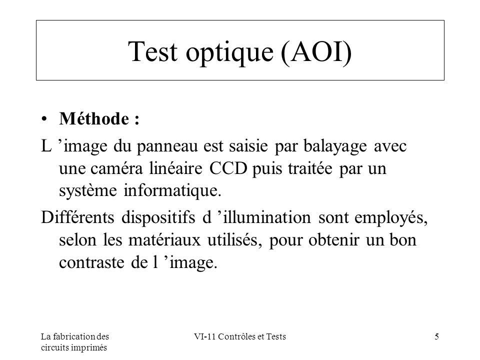 La fabrication des circuits imprimés VI-11 Contrôles et Tests5 Test optique (AOI) Méthode : L image du panneau est saisie par balayage avec une caméra