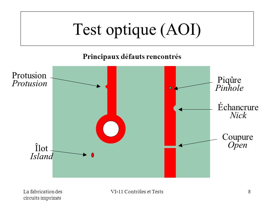 La fabrication des circuits imprimés VI-11 Contrôles et Tests29 Contrôles visuels Principe : vérifier l aspect général de la carte Éléments observés : - construction et identification - matière de base - vernis épargne - sérigraphie - revêtements métalliques - gravure