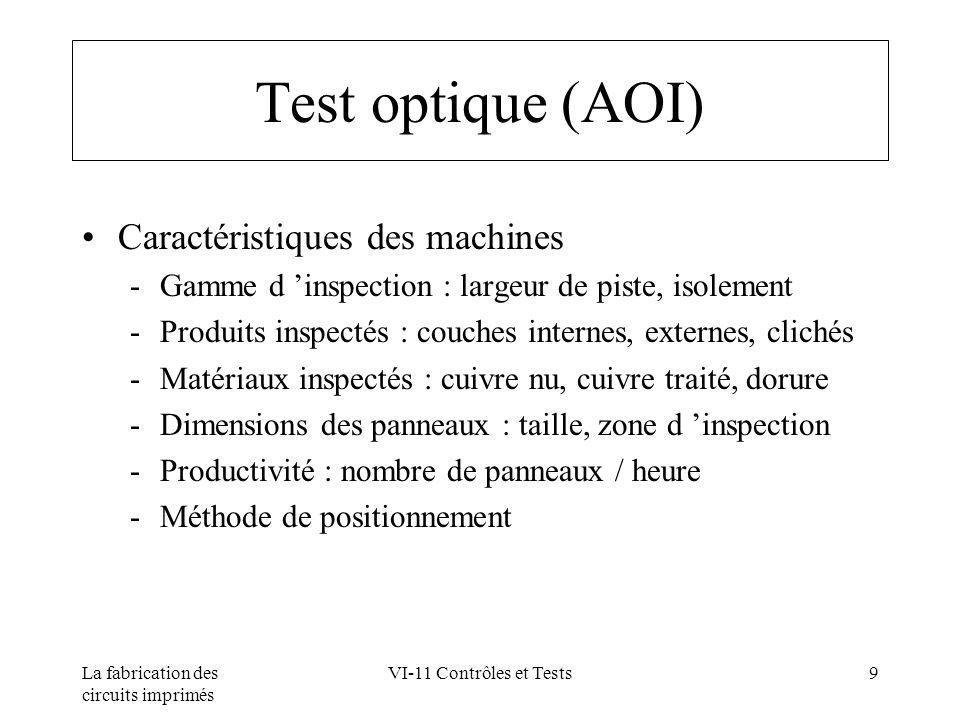La fabrication des circuits imprimés VI-11 Contrôles et Tests9 Test optique (AOI) Caractéristiques des machines Gamme d inspection : largeur de piste