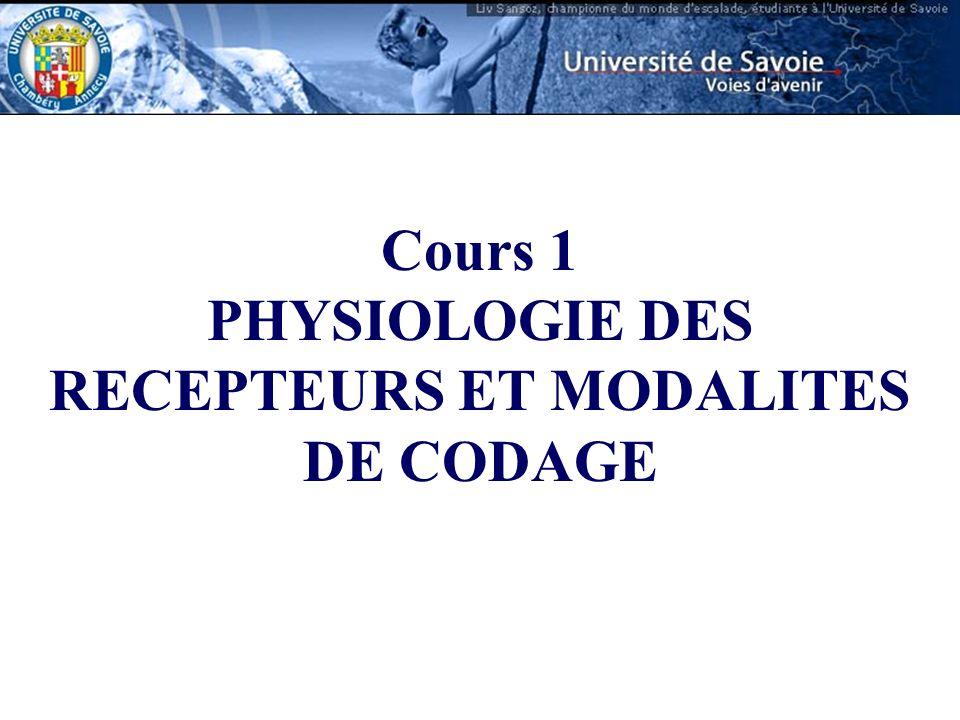 Cours 1 PHYSIOLOGIE DES RECEPTEURS ET MODALITES DE CODAGE