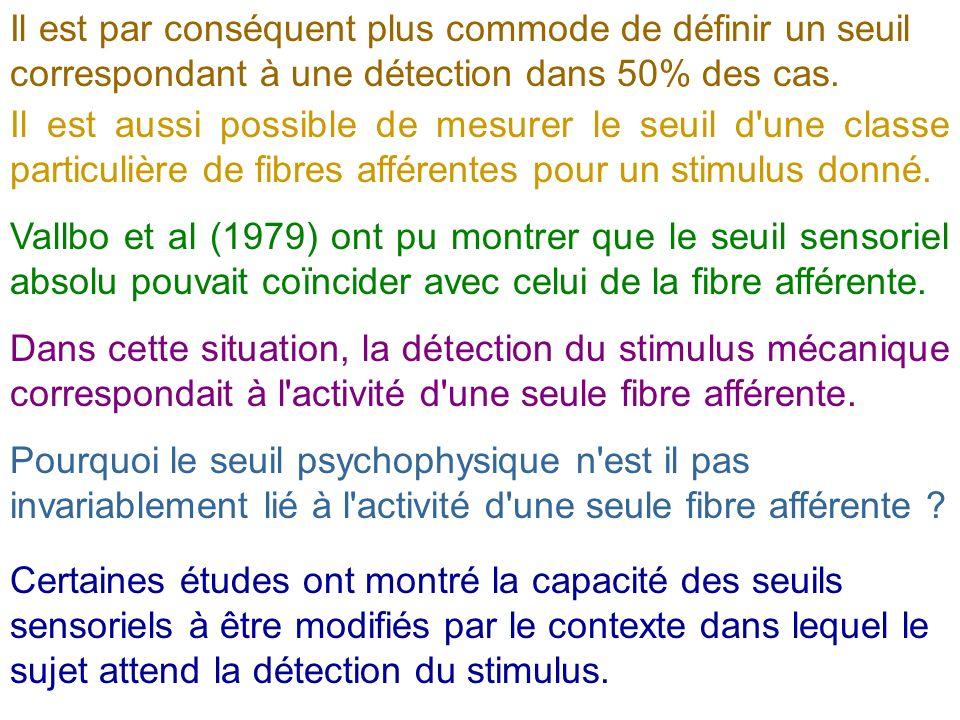 Il est par conséquent plus commode de définir un seuil correspondant à une détection dans 50% des cas. Il est aussi possible de mesurer le seuil d'une