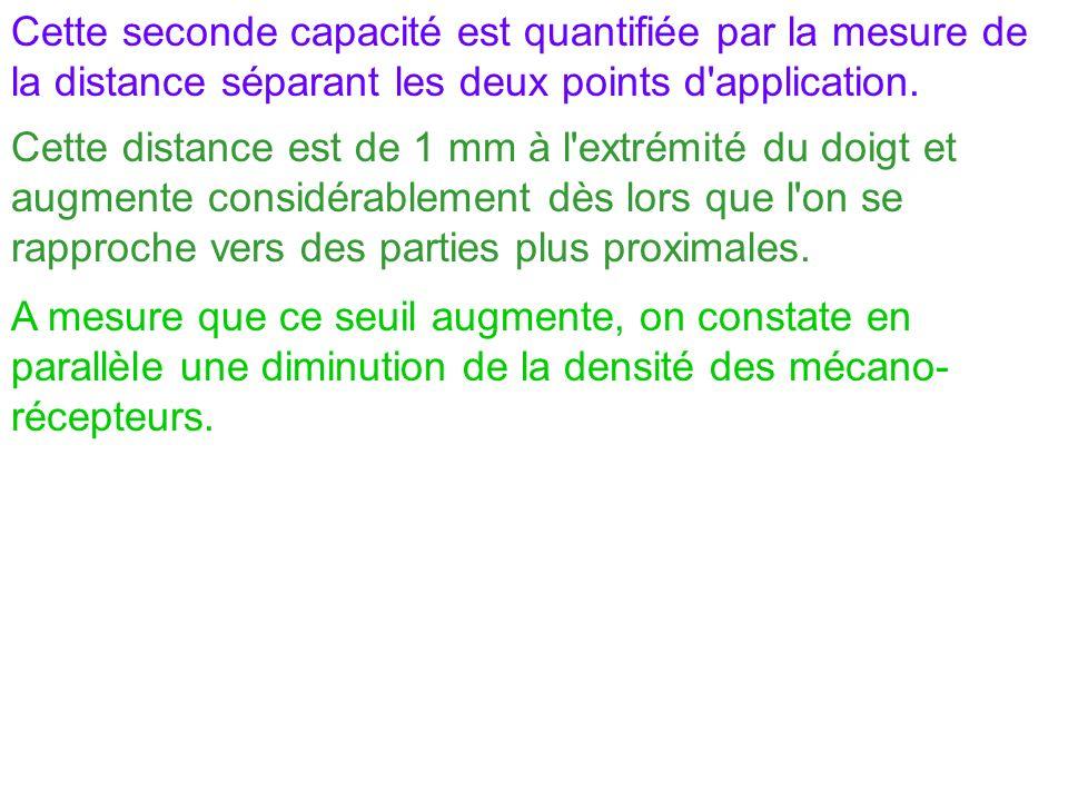 Cette seconde capacité est quantifiée par la mesure de la distance séparant les deux points d'application. Cette distance est de 1 mm à l'extrémité du